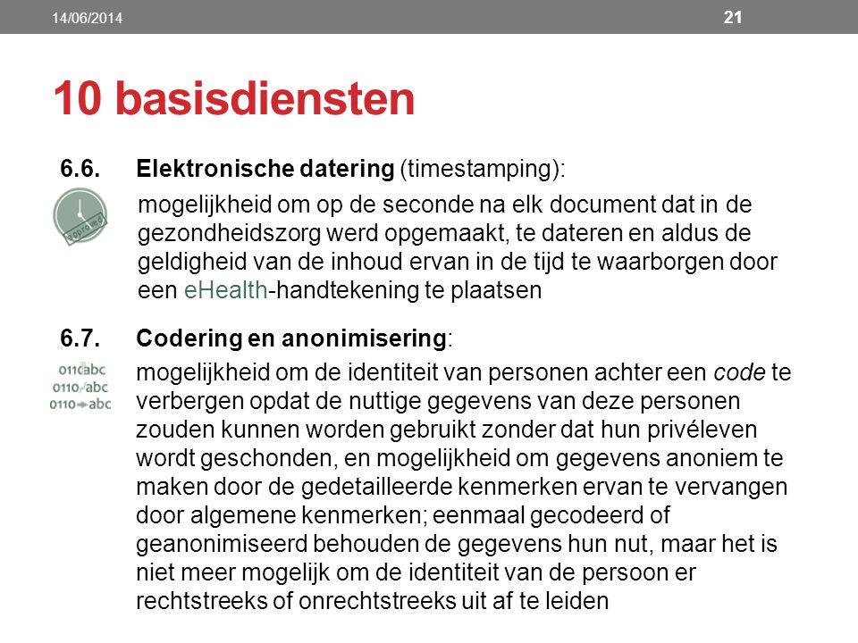 6.6.Elektronische datering (timestamping): mogelijkheid om op de seconde na elk document dat in de gezondheidszorg werd opgemaakt, te dateren en aldus