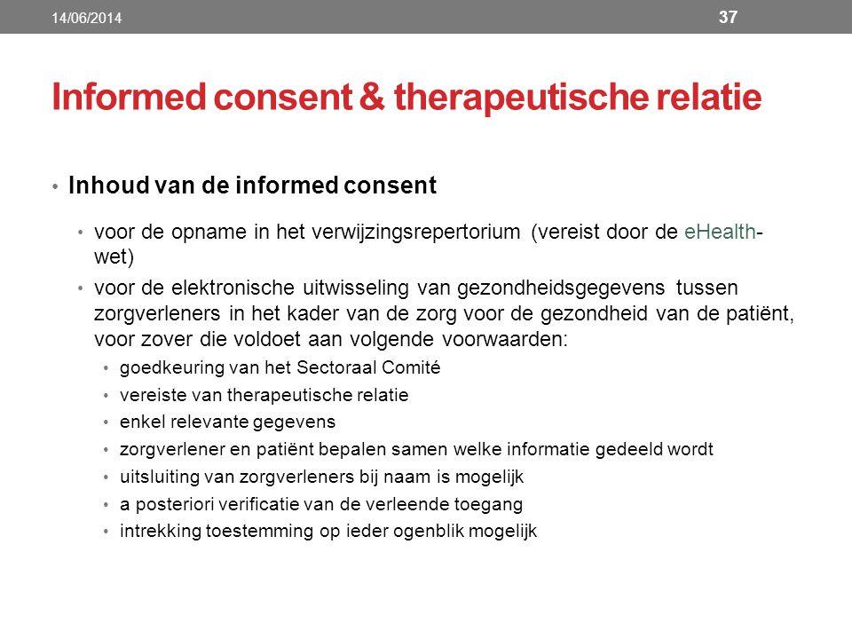 Informed consent & therapeutische relatie Inhoud van de informed consent voor de opname in het verwijzingsrepertorium (vereist door de eHealth- wet) v