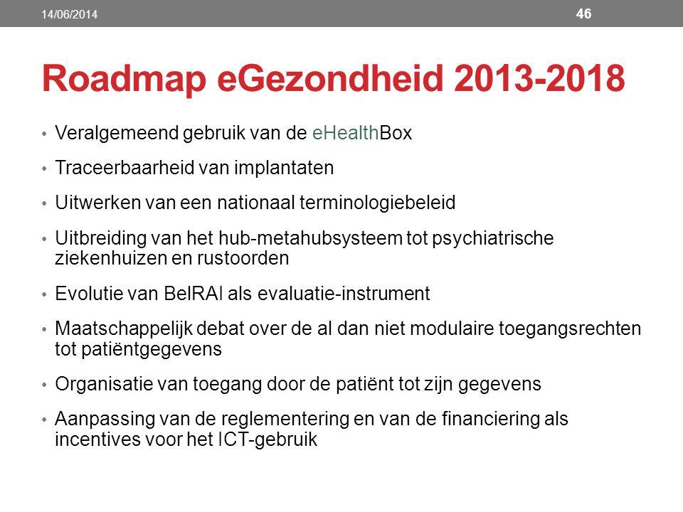 Roadmap eGezondheid 2013-2018 Veralgemeend gebruik van de eHealthBox Traceerbaarheid van implantaten Uitwerken van een nationaal terminologiebeleid Ui