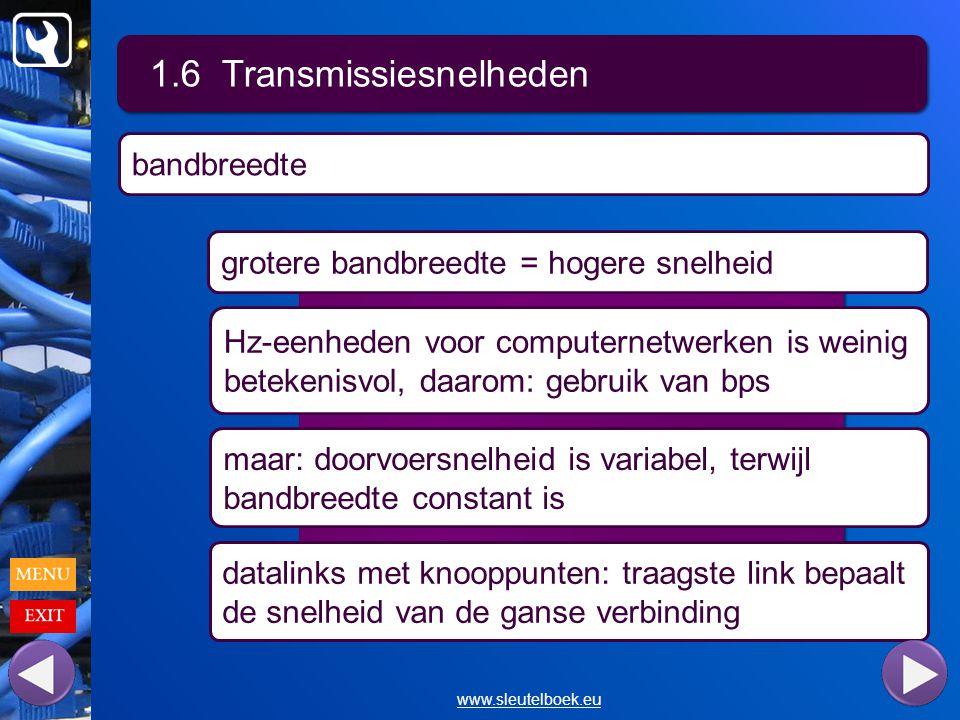 1.6 Transmissiesnelheden www.sleutelboek.eu grotere bandbreedte = hogere snelheid Hz-eenheden voor computernetwerken is weinig betekenisvol, daarom: gebruik van bps maar: doorvoersnelheid is variabel, terwijl bandbreedte constant is bandbreedte datalinks met knooppunten: traagste link bepaalt de snelheid van de ganse verbinding
