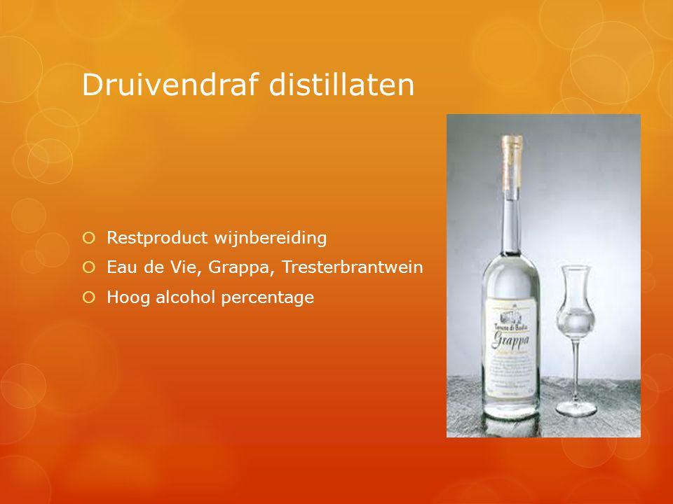 Druivendraf distillaten  Restproduct wijnbereiding  Eau de Vie, Grappa, Tresterbrantwein  Hoog alcohol percentage