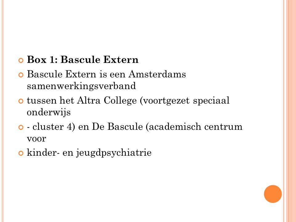 Box 1: Bascule Extern Bascule Extern is een Amsterdams samenwerkingsverband tussen het Altra College (voortgezet speciaal onderwijs - cluster 4) en De