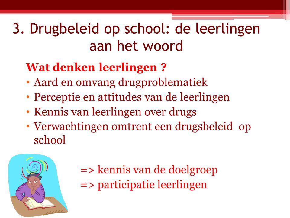 3.Drugbeleid op school: de leerlingen aan het woord Wat denken leerlingen .