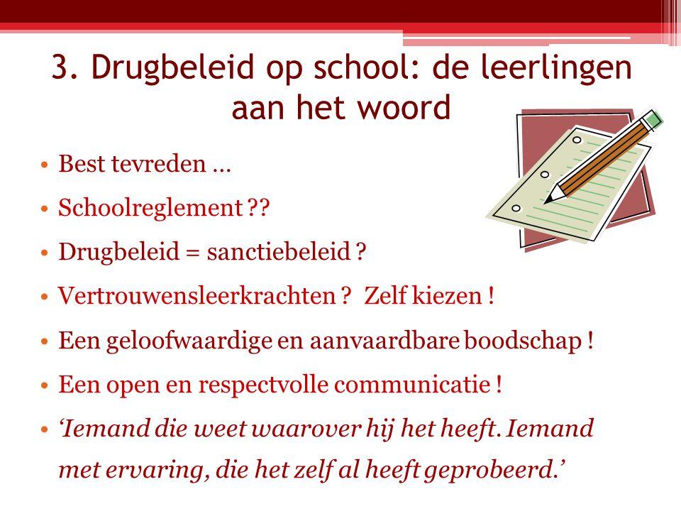 3.Drugbeleid op school: de leerlingen aan het woord Best tevreden … Schoolreglement ?.
