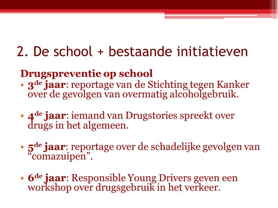 Inhoud 1.Inleiding 2.De school + bestaande initiatieven 3.Drugbeleid op school: de leerlingen aan het woord (Onderzoek Stad Gent, 2003) 4.Conclusie bekeken pakketten 5.Implementatie klasniveau: onze projectdag 6.Implementatie klasniveau: kennisquiz 7.Implementatie schoolniveau 8.Besluit 9