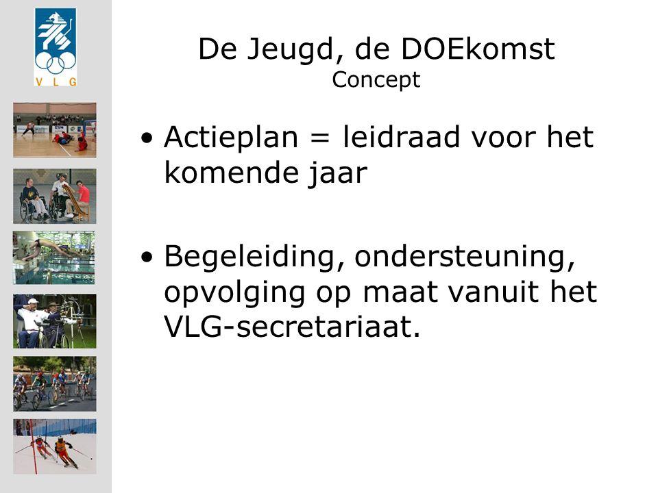 De Jeugd, de DOEkomst Concept Actieplan = leidraad voor het komende jaar Begeleiding, ondersteuning, opvolging op maat vanuit het VLG-secretariaat.