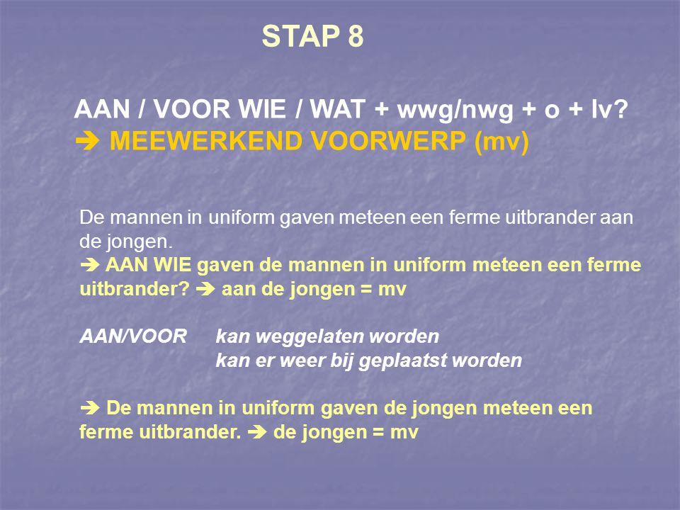 STAP 8 AAN / VOOR WIE / WAT + wwg/nwg + o + lv?  MEEWERKEND VOORWERP (mv) De mannen in uniform gaven meteen een ferme uitbrander aan de jongen.  AAN