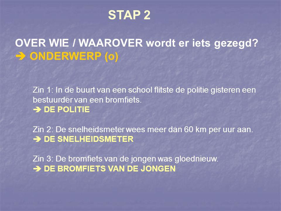 STAP 3 WAT wordt er over het ONDERWERP gezegd.