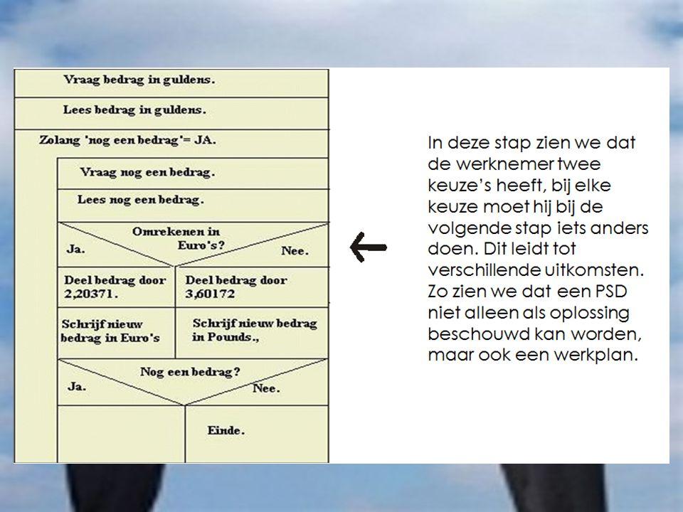 ■ Bij een programma-structuur diagram gaat het erom een probleem op te kunnen lossen. Je hebt een probleem, en wilt dit probleem d.m.v. een stappenpla