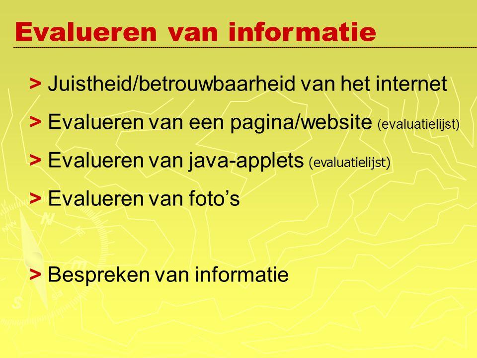Evalueren van informatie > Juistheid/betrouwbaarheid van het internet > Evalueren van een pagina/website (evaluatielijst) > Evalueren van java-applets (evaluatielijst) > Evalueren van foto's > Bespreken van informatie