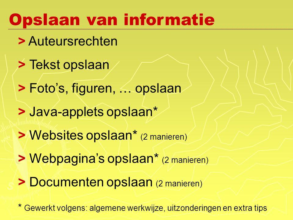 > Auteursrechten > Tekst opslaan > Foto's, figuren, … opslaan > Java-applets opslaan* > Websites opslaan* (2 manieren) > Webpagina's opslaan* (2 manieren) > Documenten opslaan (2 manieren) * Gewerkt volgens: algemene werkwijze, uitzonderingen en extra tips