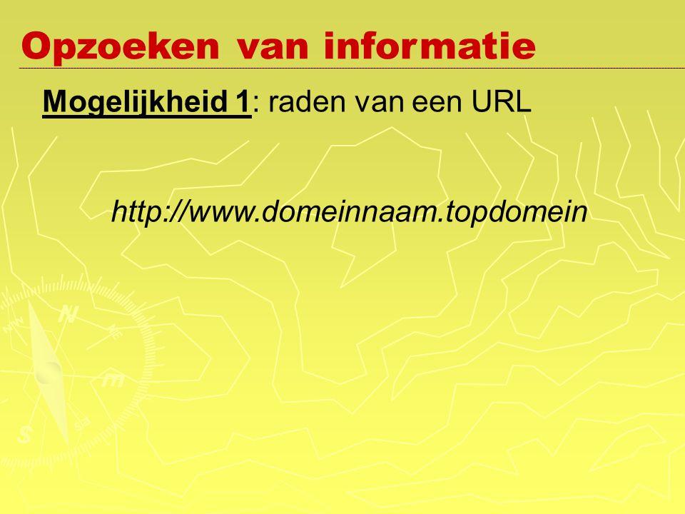 Mogelijkheid 1: raden van een URL http://www.domeinnaam.topdomein Opzoeken van informatie