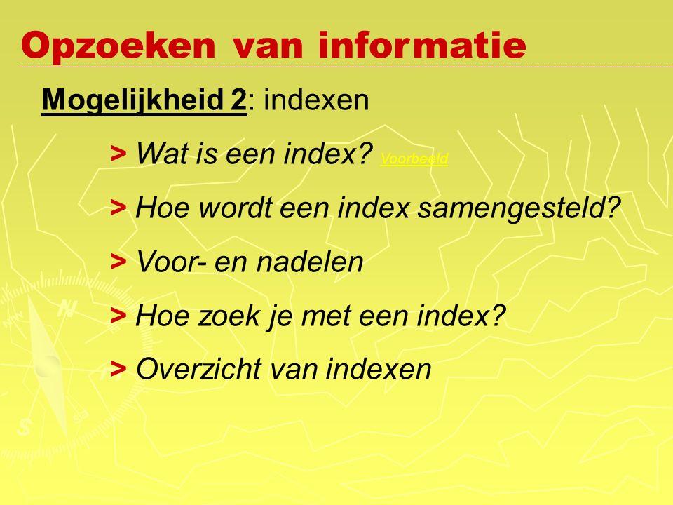 Mogelijkheid 2: indexen > Wat is een index. Voorbeeld Voorbeeld > Hoe wordt een index samengesteld.