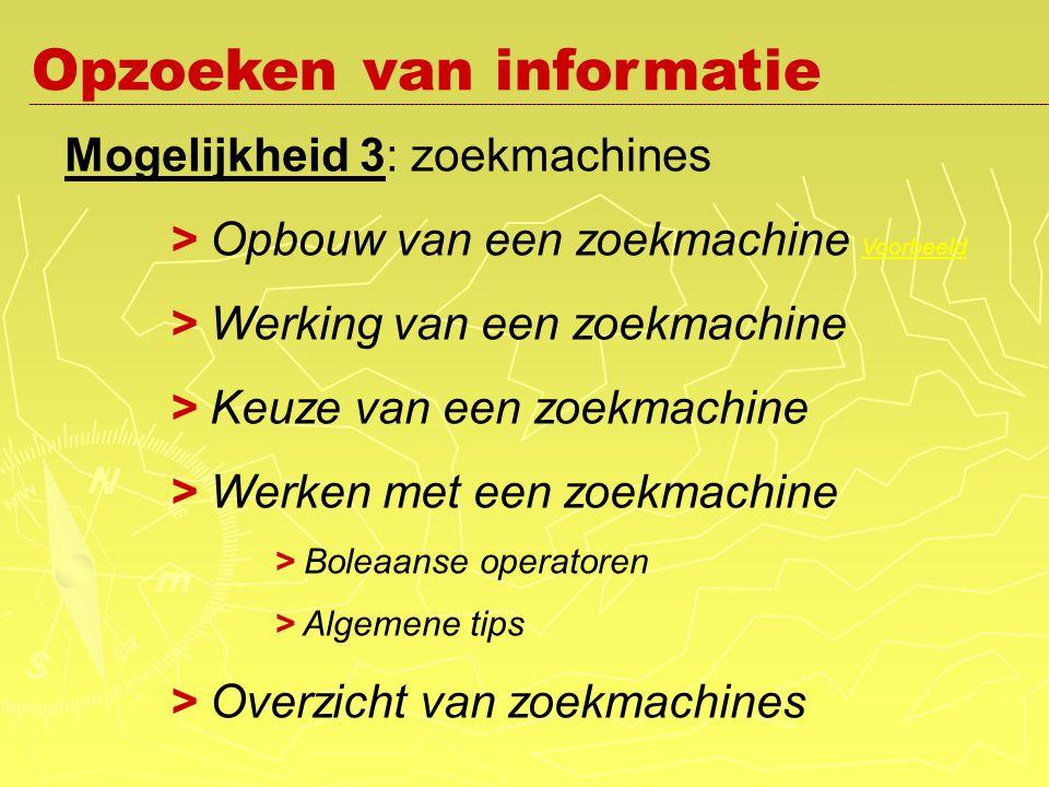 Mogelijkheid 3: zoekmachines > Opbouw van een zoekmachine Voorbeeld Voorbeeld > Werking van een zoekmachine > Keuze van een zoekmachine > Werken met een zoekmachine > Boleaanse operatoren > Algemene tips > Overzicht van zoekmachines Opzoeken van informatie