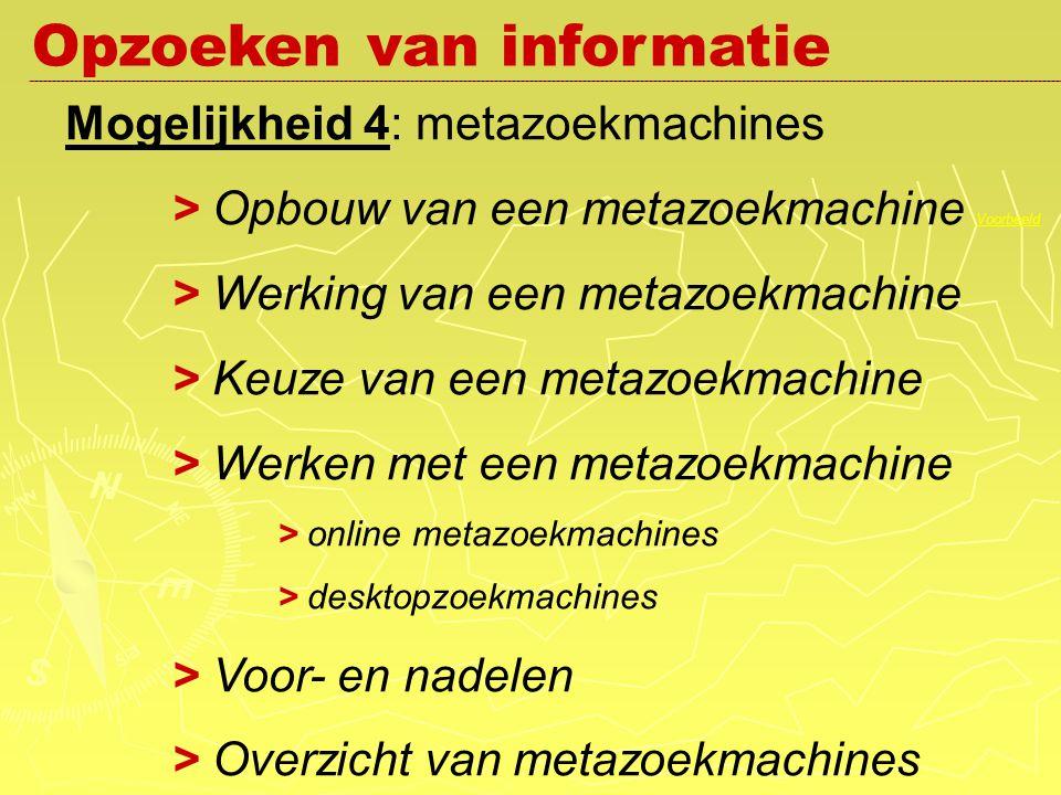 Mogelijkheid 4: metazoekmachines > Opbouw van een metazoekmachine Voorbeeld Voorbeeld > Werking van een metazoekmachine > Keuze van een metazoekmachine > Werken met een metazoekmachine > online metazoekmachines > desktopzoekmachines > Voor- en nadelen > Overzicht van metazoekmachines Opzoeken van informatie