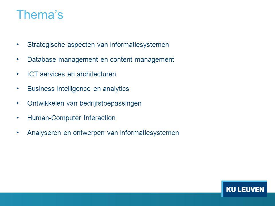 Strategische aspecten van informatiesystemen Database management en content management ICT services en architecturen Business intelligence en analytic