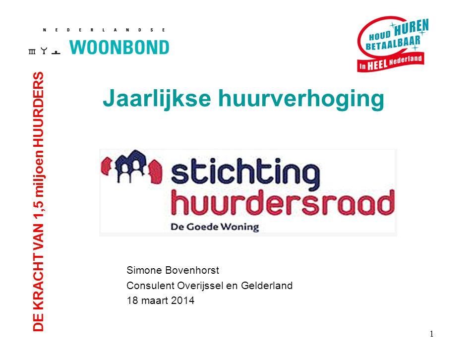 DE KRACHT VAN 1,5 miljoen HUURDERS Simone Bovenhorst Consulent Overijssel en Gelderland 18 maart 2014 Jaarlijkse huurverhoging 1