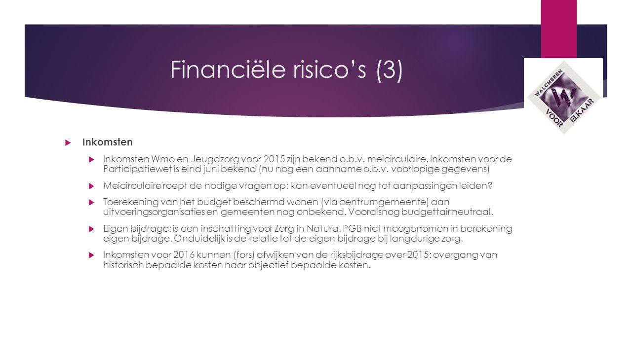 Financiële risico's (3)  Inkomsten  Inkomsten Wmo en Jeugdzorg voor 2015 zijn bekend o.b.v.