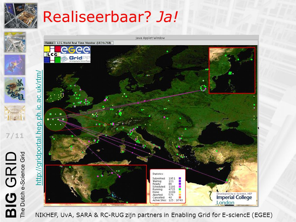 7/11 Realiseerbaar? Ja! NIKHEF, UvA, SARA & RC-RUG zijn partners in Enabling Grid for E-sciencE (EGEE) http://gridportal.hep.ph.ic.ac.uk/rtm/