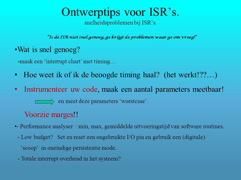 Ontwerptips voor ISR's. snelheidsproblemen bij ISR's.