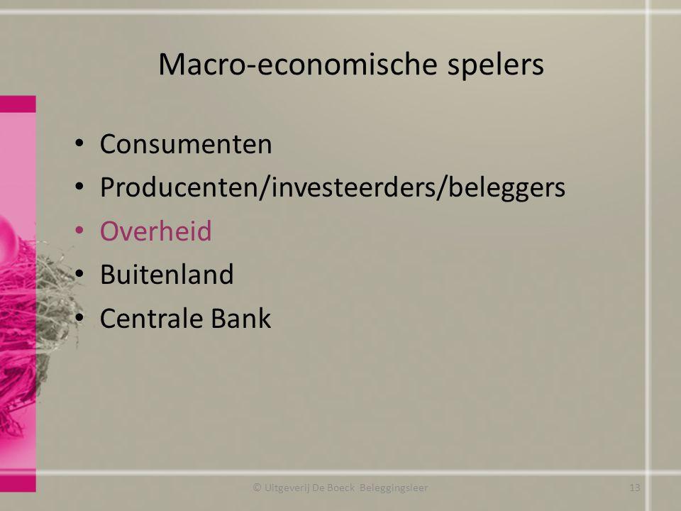 Macro-economische spelers © Uitgeverij De Boeck Beleggingsleer13 Consumenten Producenten/investeerders/beleggers Overheid Buitenland Centrale Bank