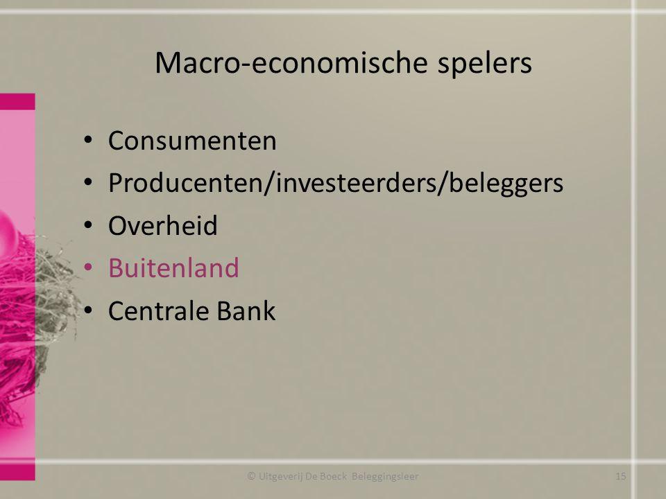 Macro-economische spelers © Uitgeverij De Boeck Beleggingsleer15 Consumenten Producenten/investeerders/beleggers Overheid Buitenland Centrale Bank