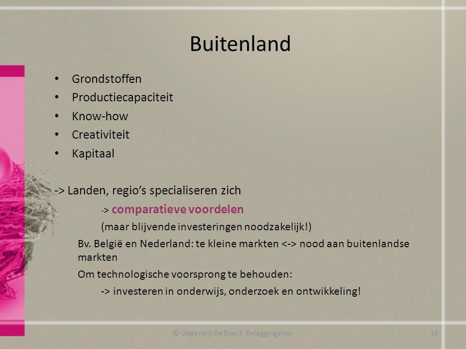 Buitenland © Uitgeverij De Boeck Beleggingsleer16 Grondstoffen Productiecapaciteit Know-how Creativiteit Kapitaal -> Landen, regio's specialiseren zich -> comparatieve voordelen (maar blijvende investeringen noodzakelijk!) Bv.