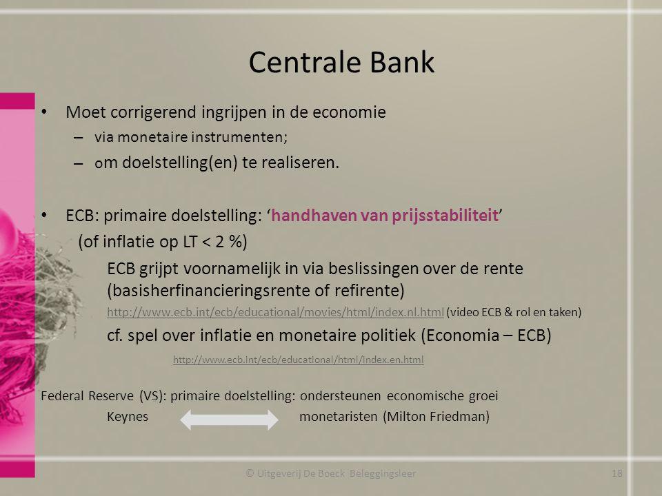 © Uitgeverij De Boeck Beleggingsleer18 Moet corrigerend ingrijpen in de economie – via monetaire instrumenten; – o m doelstelling(en) te realiseren.
