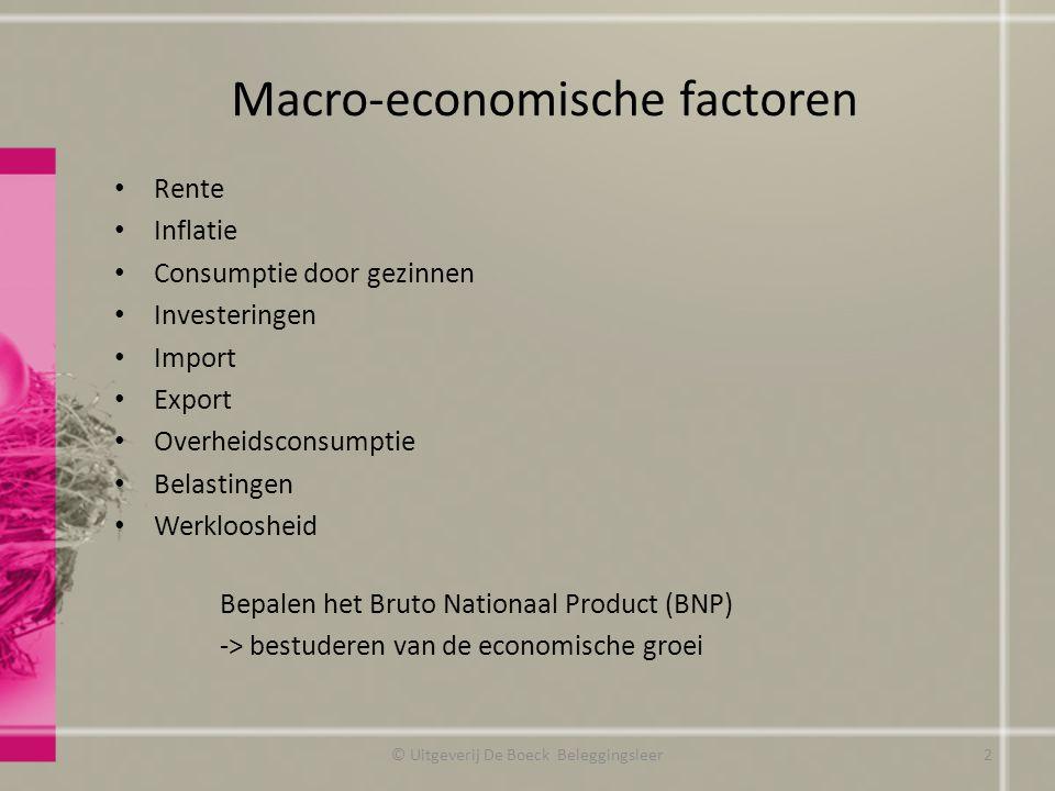 Macro-economische factoren Rente Inflatie Consumptie door gezinnen Investeringen Import Export Overheidsconsumptie Belastingen Werkloosheid Bepalen he