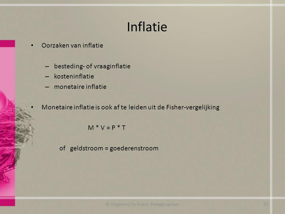 Inflatie Oorzaken van inflatie – besteding- of vraaginflatie – kosteninflatie – monetaire inflatie Monetaire inflatie is ook af te leiden uit de Fisher-vergelijking M * V = P * T of geldstroom = goederenstroom © Uitgeverij De Boeck Beleggingsleer33