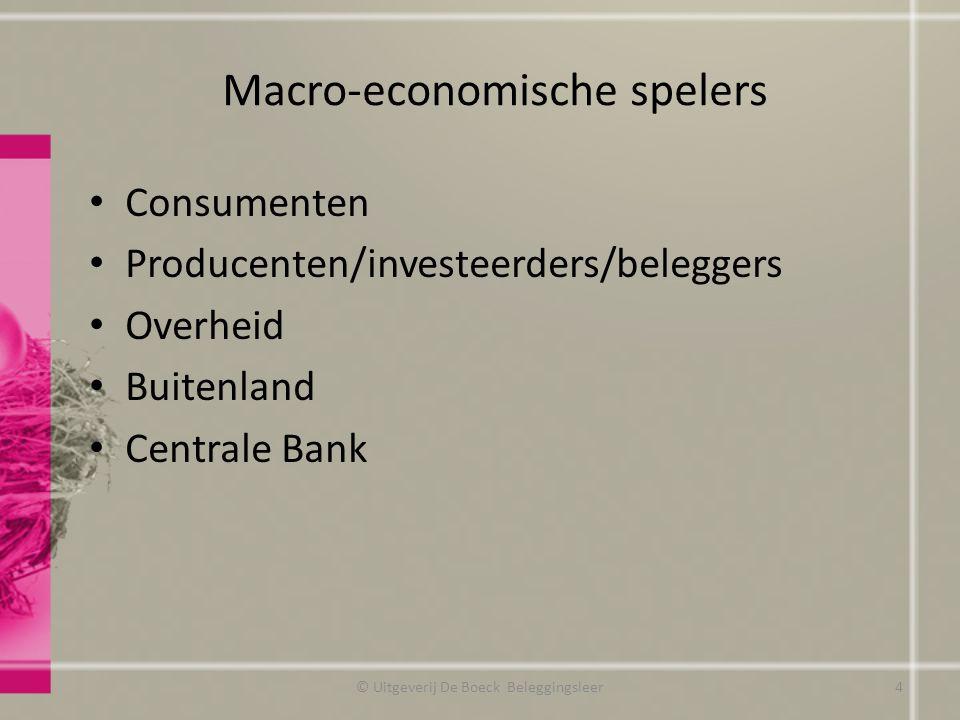 Macro-economische spelers © Uitgeverij De Boeck Beleggingsleer4 Consumenten Producenten/investeerders/beleggers Overheid Buitenland Centrale Bank
