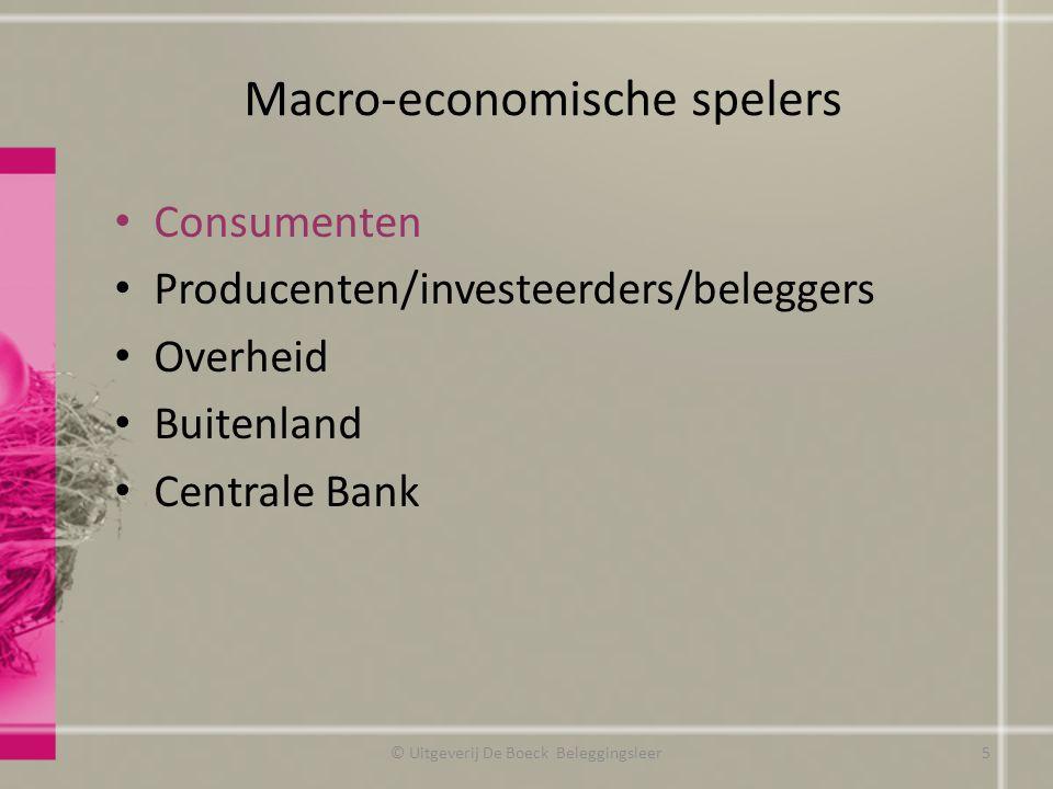 Macro-economische spelers © Uitgeverij De Boeck Beleggingsleer5 Consumenten Producenten/investeerders/beleggers Overheid Buitenland Centrale Bank