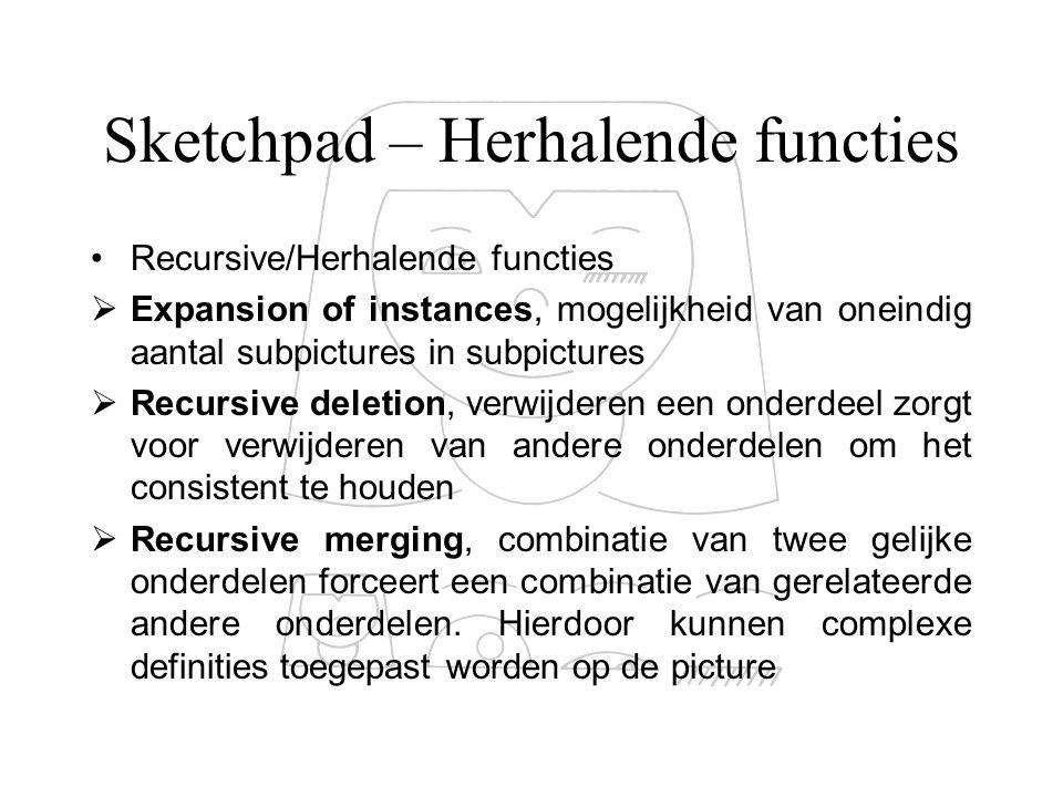 Sketchpad – Herhalende functies Recursive/Herhalende functies  Expansion of instances, mogelijkheid van oneindig aantal subpictures in subpictures 