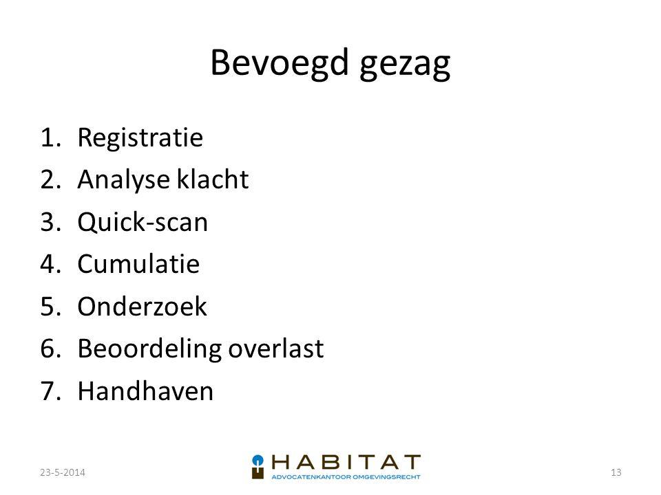 Bevoegd gezag 1.Registratie 2.Analyse klacht 3.Quick-scan 4.Cumulatie 5.Onderzoek 6.Beoordeling overlast 7.Handhaven 23-5-201413