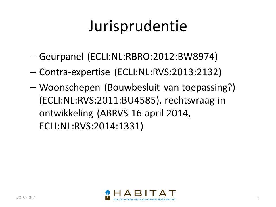 Jurisprudentie – Geurpanel (ECLI:NL:RBRO:2012:BW8974) – Contra-expertise (ECLI:NL:RVS:2013:2132) – Woonschepen (Bouwbesluit van toepassing?) (ECLI:NL: