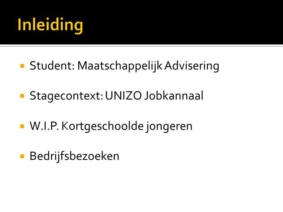  Student: Maatschappelijk Advisering  Stagecontext: UNIZO Jobkannaal  W.I.P. Kortgeschoolde jongeren  Bedrijfsbezoeken