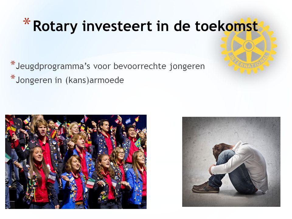 * Jeugdprogramma's voor bevoorrechte jongeren * Jongeren in (kans)armoede * Rotary investeert in de toekomst