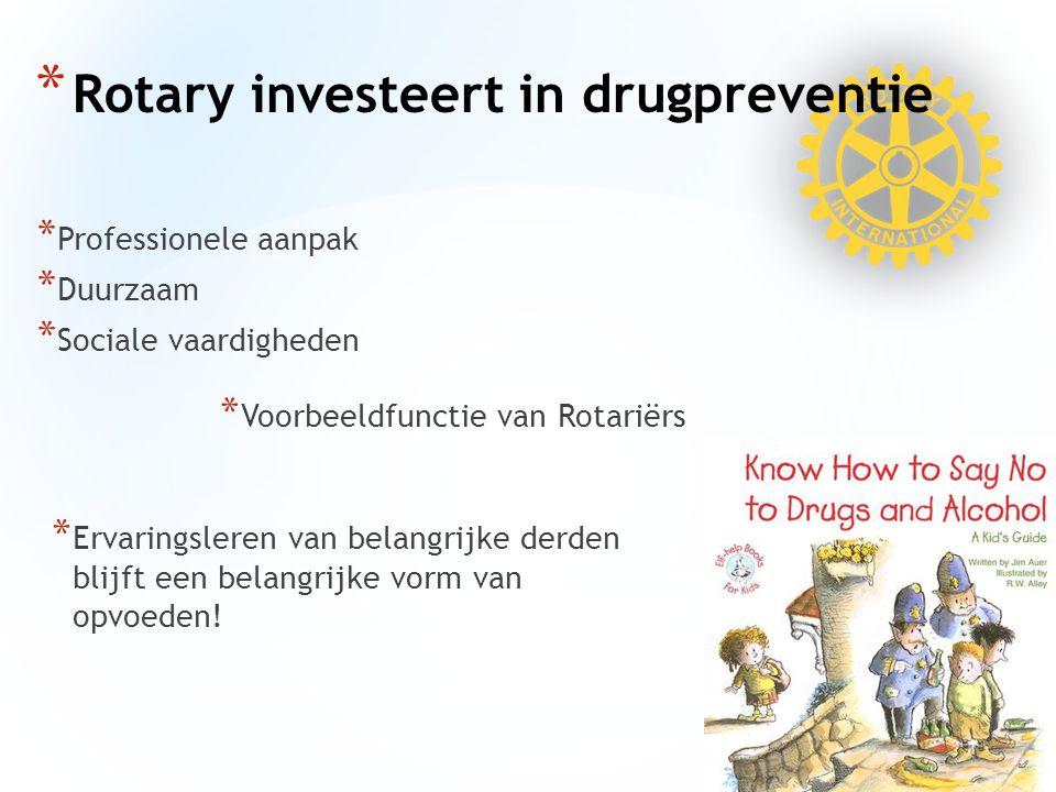 * Professionele aanpak * Duurzaam * Sociale vaardigheden * Rotary investeert in drugpreventie * Voorbeeldfunctie van Rotariërs * Ervaringsleren van belangrijke derden blijft een belangrijke vorm van opvoeden!