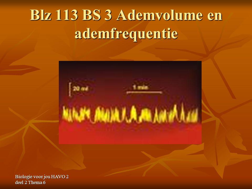 Biologie voor jou HAVO 2 deel 2 Thema 6 Blz 113 BS 3 Ademvolume en ademfrequentie