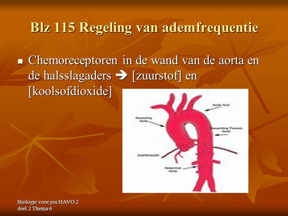 Biologie voor jou HAVO 2 deel 2 Thema 6 Blz 115 Regeling van ademfrequentie Chemoreceptoren in de wand van de aorta en de halsslagaders  [zuurstof] e