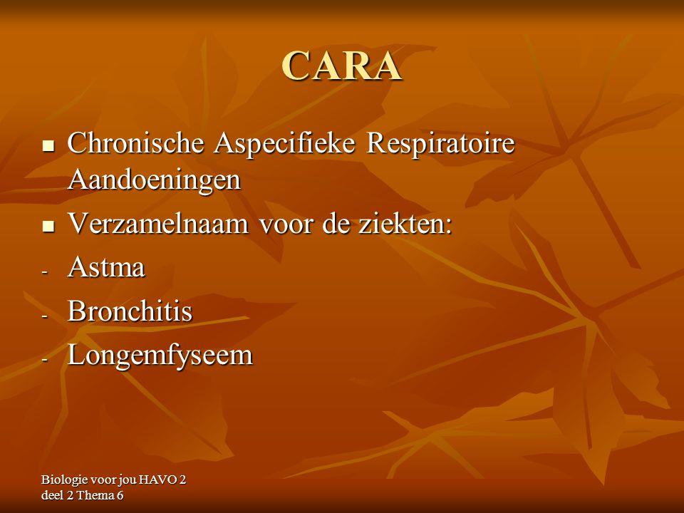 Biologie voor jou HAVO 2 deel 2 Thema 6 CARA Chronische Aspecifieke Respiratoire Aandoeningen Chronische Aspecifieke Respiratoire Aandoeningen Verzame