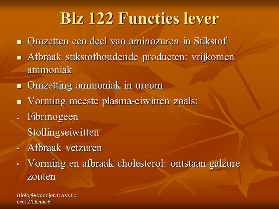 Biologie voor jou HAVO 2 deel 2 Thema 6 Blz 122 Functies lever Omzetten een deel van aminozuren in Stikstof Omzetten een deel van aminozuren in Stikst