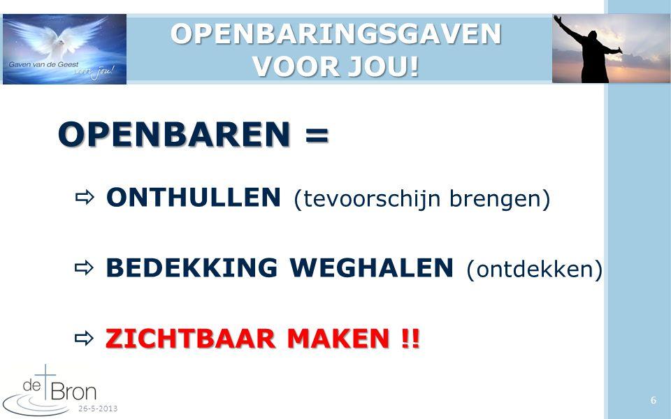 6 OPENBAREN =  ONTHULLEN (tevoorschijn brengen)  BEDEKKING WEGHALEN (ontdekken) ZICHTBAAR MAKEN !.