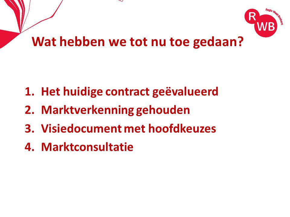 1.Het huidige contract geëvalueerd 2.Marktverkenning gehouden 3.Visiedocument met hoofdkeuzes 4.Marktconsultatie Wat hebben we tot nu toe gedaan?
