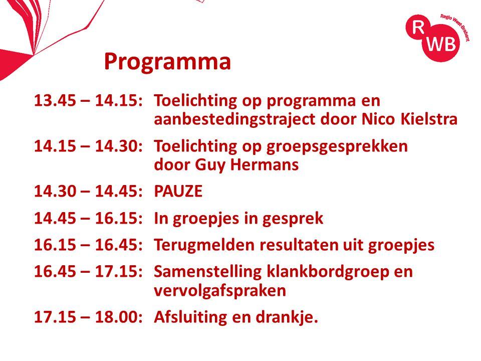 13.45 – 14.15:Toelichting op programma en aanbestedingstraject door Nico Kielstra 14.15 – 14.30:Toelichting op groepsgesprekken door Guy Hermans 14.30