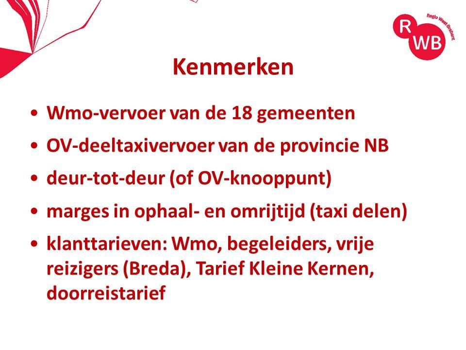 Kenmerken Wmo-vervoer van de 18 gemeenten OV-deeltaxivervoer van de provincie NB deur-tot-deur (of OV-knooppunt) marges in ophaal- en omrijtijd (taxi