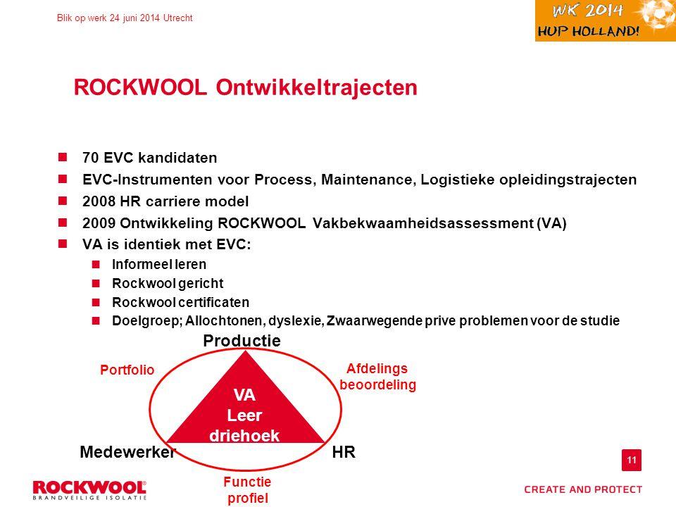 11 Blik op werk 24 juni 2014 Utrecht ROCKWOOL Ontwikkeltrajecten 70 EVC kandidaten EVC-Instrumenten voor Process, Maintenance, Logistieke opleidingstrajecten 2008 HR carriere model 2009 Ontwikkeling ROCKWOOL Vakbekwaamheidsassessment (VA) VA is identiek met EVC: Informeel leren Rockwool gericht Rockwool certificaten Doelgroep; Allochtonen, dyslexie, Zwaarwegende prive problemen voor de studie VA Leer driehoek MedewerkerHR Productie Portfolio Functie profiel Afdelings beoordeling