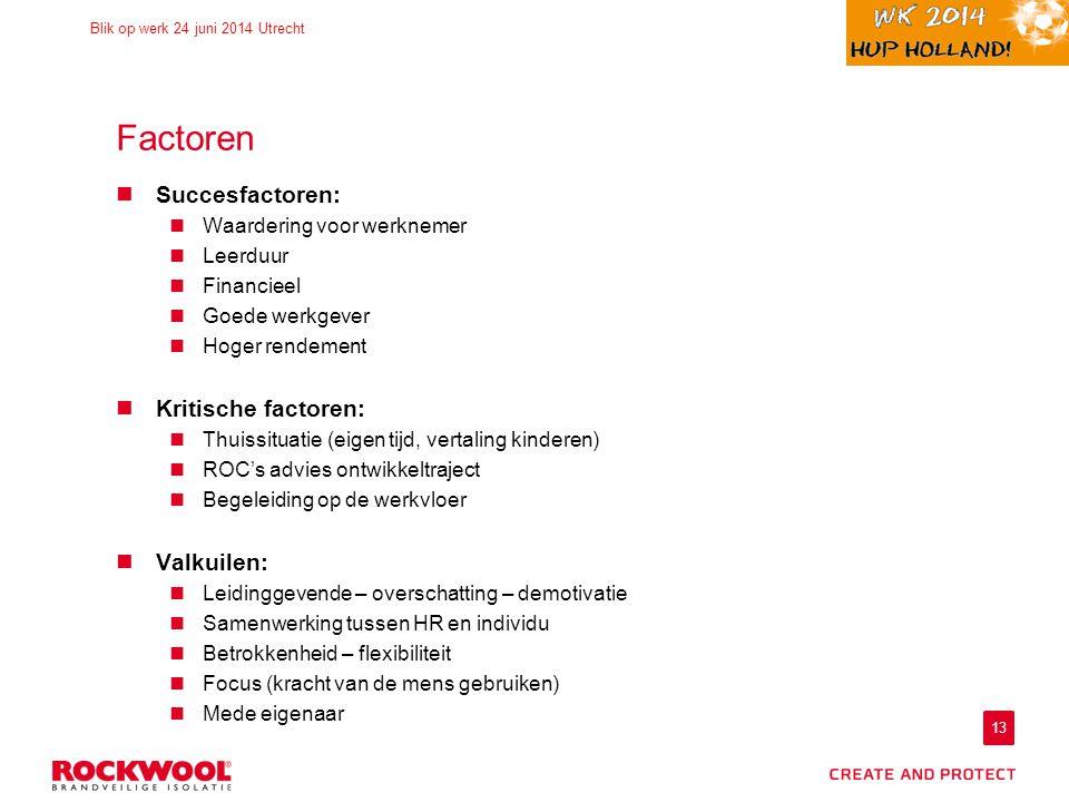 13 Blik op werk 24 juni 2014 Utrecht Factoren Succesfactoren: Waardering voor werknemer Leerduur Financieel Goede werkgever Hoger rendement Kritische factoren: Thuissituatie (eigen tijd, vertaling kinderen) ROC's advies ontwikkeltraject Begeleiding op de werkvloer Valkuilen: Leidinggevende – overschatting – demotivatie Samenwerking tussen HR en individu Betrokkenheid – flexibiliteit Focus (kracht van de mens gebruiken) Mede eigenaar