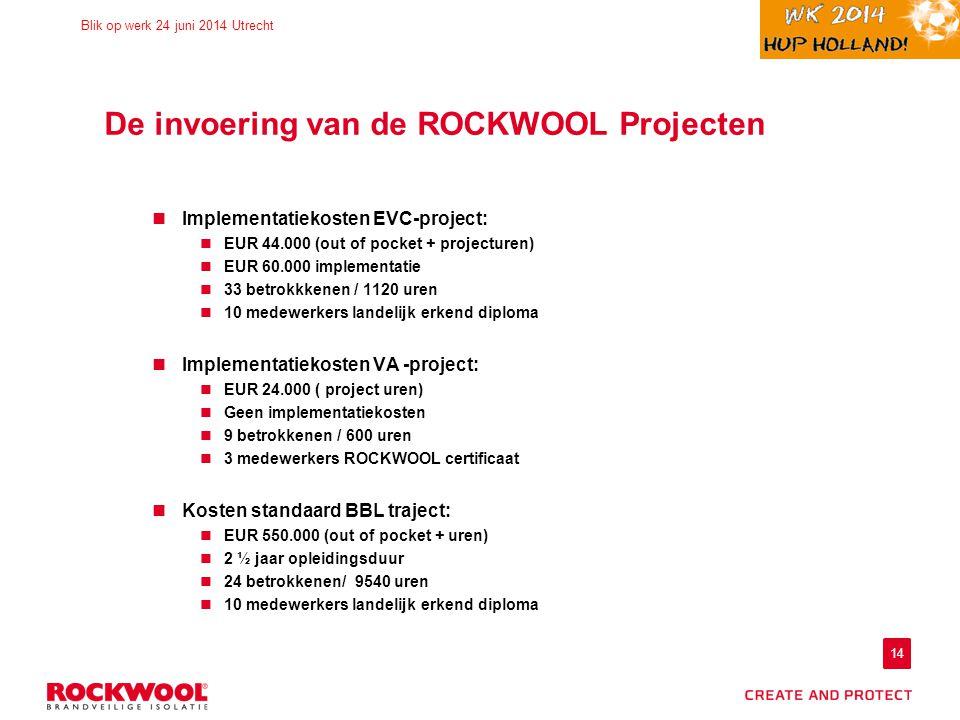 14 Blik op werk 24 juni 2014 Utrecht De invoering van de ROCKWOOL Projecten Implementatiekosten EVC-project: EUR 44.000 (out of pocket + projecturen)