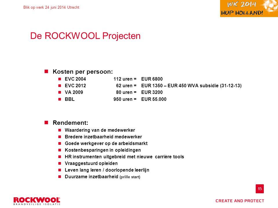 15 Blik op werk 24 juni 2014 Utrecht De ROCKWOOL Projecten Kosten per persoon: EVC 2004 112 uren = EUR 6800 EVC 2012 62 uren =EUR 1350 – EUR 450 WVA subsidie (31-12-13) VA 2009 80 uren =EUR 3200 BBL950 uren = EUR 55.000 Rendement: Waardering van de medewerker Bredere inzetbaarheid medewerker Goede werkgever op de arbeidsmarkt Kostenbesparingen in opleidingen HR instrumenten uitgebreid met nieuwe carrière tools Vraaggestuurd opleiden Leven lang leren / doorlopende leerlijn Duurzame inzetbaarheid (prille start)